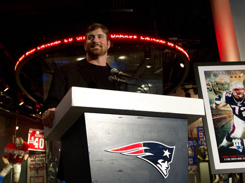 New England Patriots offensive lineman Matt Light speaks with reporters during an NFL football news conference on May 7, 2012, at Gillette Stadium, in Foxborough, Massachusetts, announcing his retirement from the NFL after 11 years.