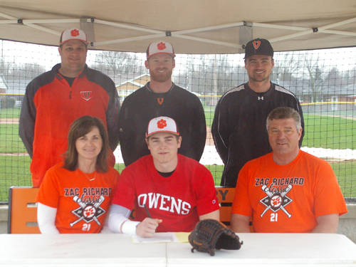 Versailles senior Noah Richard committed to the Owens Community College baseball team on Saturday. Pictured are (front row, l-r) mother Peggi Richard, Noah Richard, father Mark Richard, (back row, l-r) Versailles assistant baseball coach Brad Koopman, Versailles baseball coach Ryan Schlater and Versailles Athletics Director Doug Giere.
