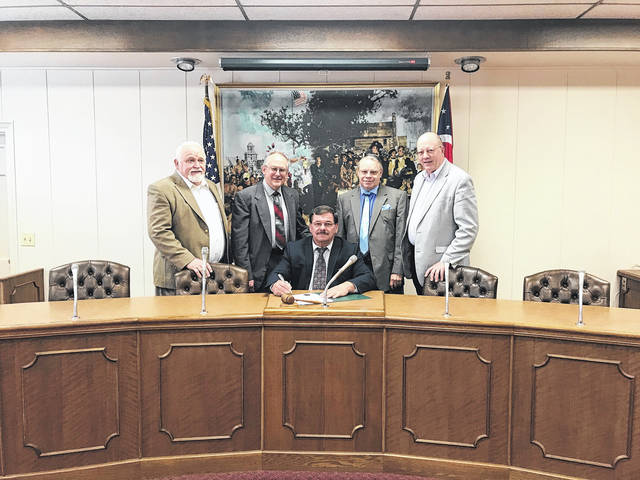 "Courtesy photo Members of the Greater Greenville Ministerial Association with Greenville City Mayor Steve Willman as he signs a proclamation for the 67th annual ""National Day of Prayer"" local observance to be held on May 3 from 12 to 12:45 p.m. in front of the city building."