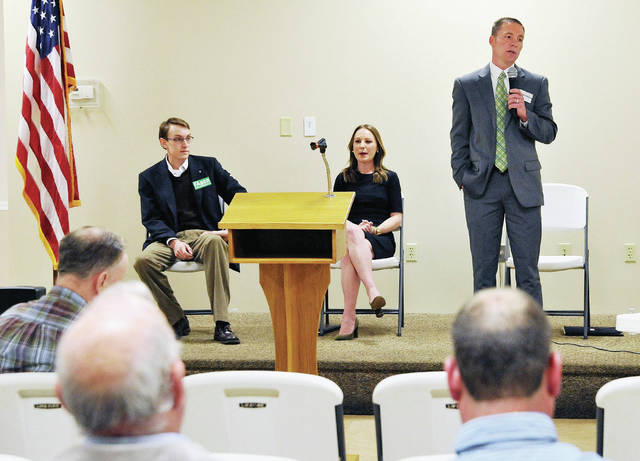 State Representative candidates, left to right, Travis Faber, Susan Manchester and Aaron Heilers respond to questions and concerns from a panel at St. Remy Hall in Russia Friday, April 20.