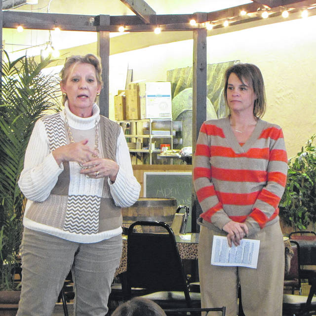 Carol Litman, left, and Julie Lecklide, right, from the Community Action Partnership explaining the programs offered through the organization.