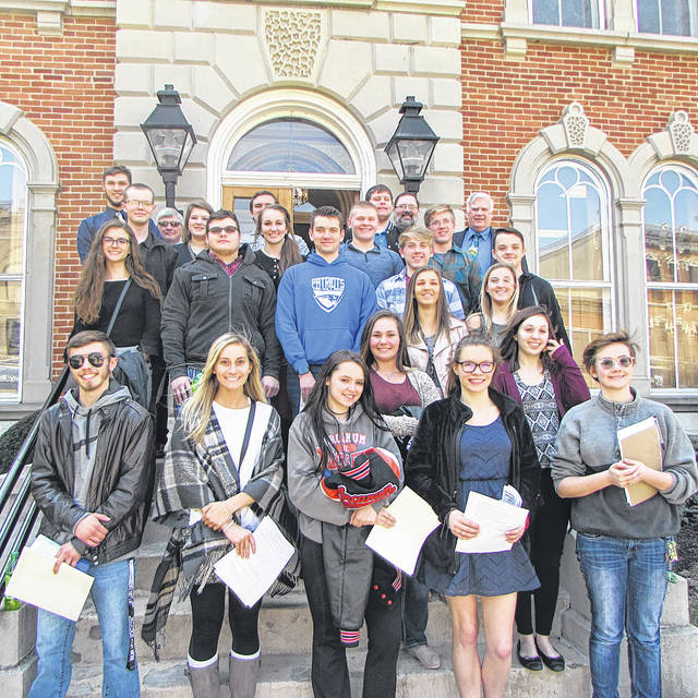 Students from varying schools from Darke County attend Student Government Day. There were over twenty-two students that came. Afterwards, students enjoyed pizza and stayed for the Commissioner's Meeting.