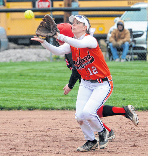Bradford's Bailey, 12, makes a catch for the Railroaders.