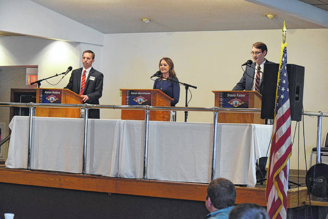 The three Republicans vying for the 84th District Ohio House seat debated the issues in Celina, Saturday. From left are Aaron Heilers, Susan Manchester and Travis Faber.