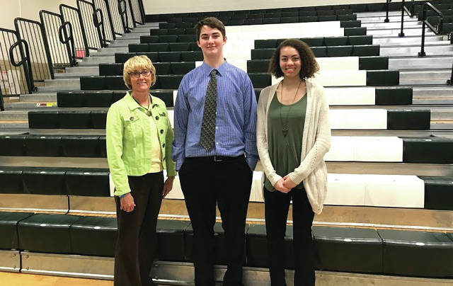 Greenville CTC advisor Margie Heitkamp (left) is pictured with students Connor Null and Shalyla Henderson.