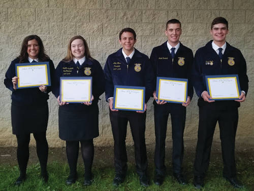 The 2018 Arcanum MVCTC FFA State Degree recipients were (l-r) Alexandria Less, Samantha McAllister, Alexander Weiss, Jacob Osswald and Zachary Smith.
