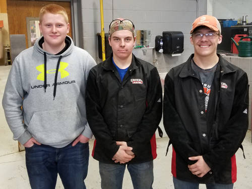 Members of the Arcanum MVCTC FFA ag mechanics skills team were (l-r) Cole Beck, Ethan Garbig and Levi Walker