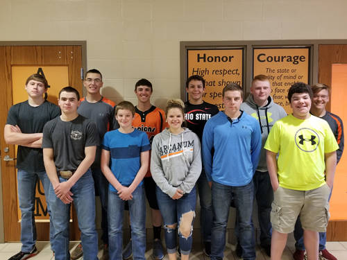Members of the 2018 Arcanum MVCTC Agricultural Technology and Mechanical Systems Team include (l-r) Cael Gostomsky, Blayne Hess, Jacob Osswald, Austin Stephens, Brody Williams, Laney Fourman, Alex Weiss, Levi Walker, Cole Beck, Isaac Smith and Ethan Garbig.