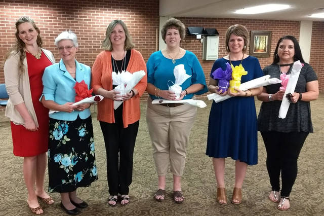 Greenville Business & Professional Women's Club officers were sworn in. Pictured (l-r) are Legislative Chair Lindsey Gehret and BPW officers Peggy Foutz, Susan Shields, Dorothy Poeppelman, Sonya Crist and Kasey Christian.