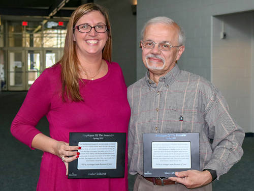 Amber Selhorst and Vince Miller were named 2018 spring employees of the semester at Edison State Community College.