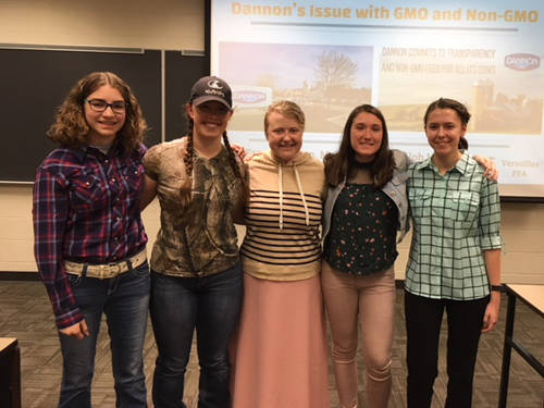 The Versailles FFA Agricultural Issue team placed third in the state at the state agricultural issue contest. Pictured are (l-r) Maddy Henry, Faith Wilker, Shiloh Hess, Emma Gasson and Kennedy Hughes.