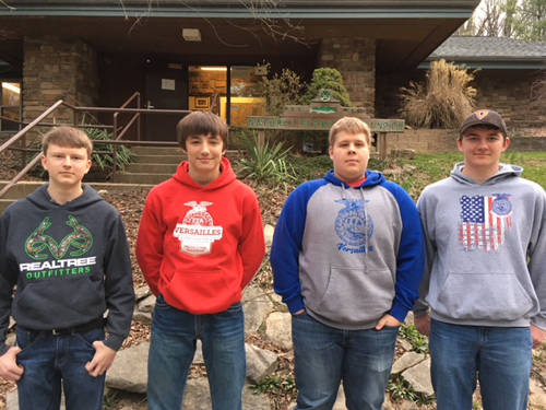The Versailles FFA competed at the state environmental and natural resources competition and placed fourth overall. Members of the Wildlife team that competed include (l-r) Cody Williams, Alex Kaiser, Evan Keller and Isaac Grilliot.