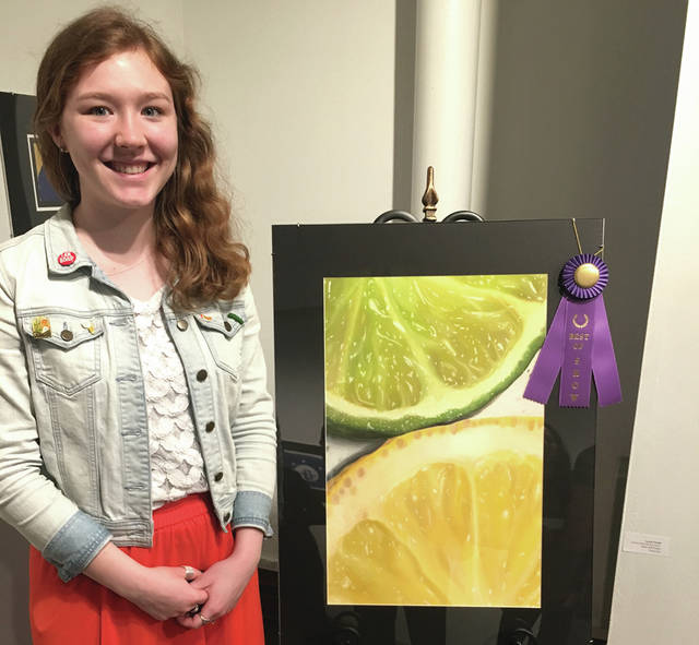 "Greenville High School senior Laura Fields won best in show for her soft pastel painting, ""Lemon Lime All the Time."""