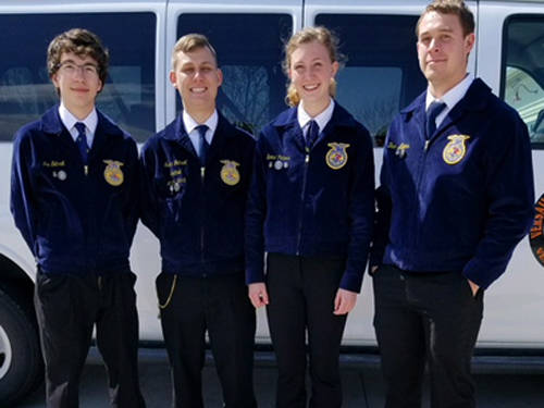 Versailles FFA placed sixth at the state FFA general livestock finals. The team consisted of (l-r) Ian Gehret, Isaac Gehret, Emma Peters and Ben Albers.