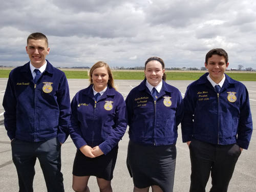 Members of the Arcanum MVCTC FFA grain merchandising team that competed in the state finals were (l-r) Jacob Osswald, Kaylee Wilcox, Samantha McAllister and Alex Weiss.