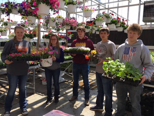 Versailles FFA members Amberlyn Riley, Deanna Day, Kyron Witt, Kaleb Miller and Jon Gehret are shown holding plants that are all available in the Versailles FFA greenhouse.