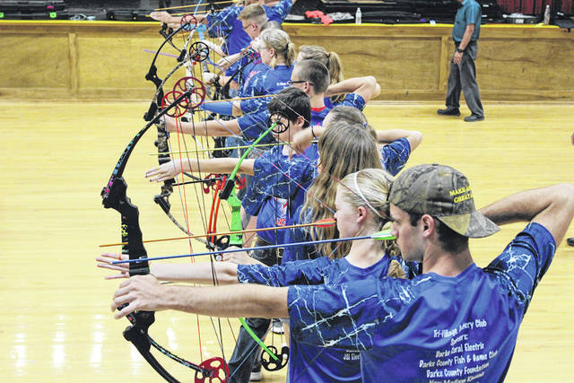 The Tri-Village High School Archery Club practices Wednesday. The squad will compete at the National Archery in Schools Program World Tournament June 7 to 9 in Louisville, Kentucky.