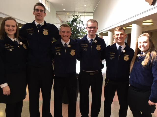 Six Versailles FFA members prepared and presented a presentation of a portion of the national chapter application. Versailles placed in the top 10 in the state for the building communities and strengthening ag divisions and was recognized as the first place in the growing leaders portion. The group of members who presented for national chapter include (l-r) Tessa Tyo, Caden Buschur, Cole Luthman, Marcus Berger, Isaac Gehret and Courtney Batten.