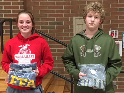 Versailles FFA members Caityn Luthman and Jon Gehret were named SAE Members of the Month at the Versailles FFA April meeting.