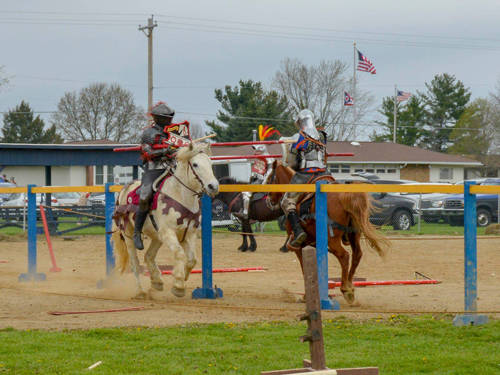 Seth and Elijah cross lances, action community members will be able to see at the Treaty City Joust Tournament.