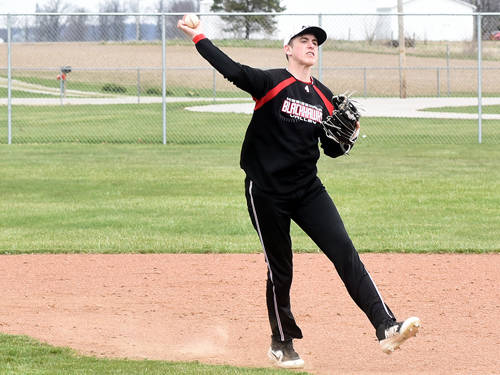 Mississinawa Valley's Trent Collins throws out a runner during a Cross County Conference baseball game against Franklin Monroe on April 21 in Union City.