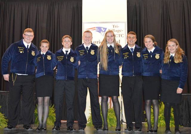 The Tri-Village MVCTC FFA chapter 2018-19 officer team consists of (l-r) Student Advisor Brenden Durst, Reporter Madison Crawford, Vice President Jonathon Crawford, Treasurer Gavin Lochard, President Maddie Downing, Sentinel Jared Godown, Secretary Rorie Stump and Historian Jenna Godown.