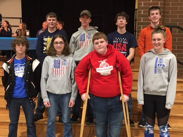 The Versailles FFA announced its assistant officers during its April meeting. Pictured are (front row, l-r) Xavier Grillot, Maddy Henry, Elliott George, Emma Peters, (back row, l-r) Dalton Hesson, Luke Billenstein, Ian Gehret and Noah Barga.