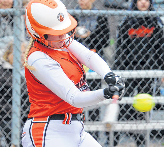 Bradford's Bianca Keener makes contact with a pitch during a Cross County Conference softball game against Newton on April 18 in Pleasant Hill.
