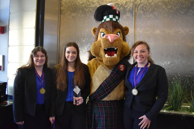 "Olivia Keihl (Arcanum-Butler), Kaleigh Vogel (Valley View) and Delaney Norton (National Trail) from Business Ownership Junior Lab won first place with the project ""Environmental Damage Prevention for Businesses."""