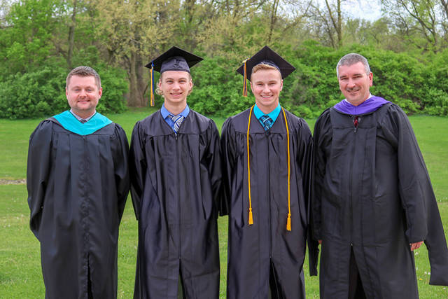 Edison State Community College's first two agriculture graduates Logan Ressler and Wyatt King are pictured with Edison State Agriculture Program Director and instructor Brad Lentz and Executive Dean of Edison State's Darke County Campus Chad Beanblossom.