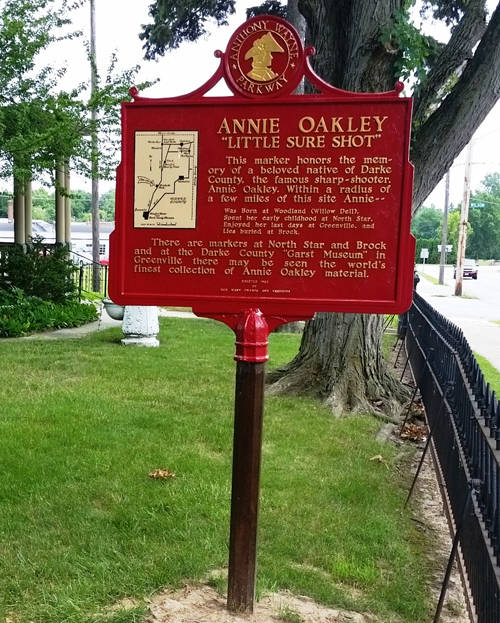 Annie Oakley historical markers are pictured.