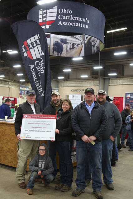The Darke County Cattlemen's Association was selected as the winner of the OCA County Recruitment Contest. Pictured (l-r) are Brad Moffitt, Ohio Corn Marketing Program; Jason Godown, Darke County Youth Cattleman; Gary Gehret, Darke County Cattleman; Sasha Rittenhouse, OCA President; Tony Gostomsky, Darke County Cattleman; and Rob Godown, Darke County Cattleman.