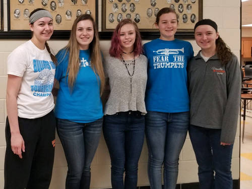 The Versailles FCCLA chapter elected officers for 2018-19. Pictured (l-r) are Alyssa Dieringer, Larissa Jones, Madelyn Vogel, Savannah Toner, and Jenna Mangen.