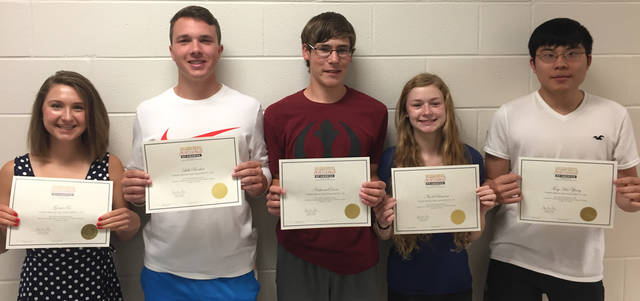 Franklin Monroe's (l-r) Grace Fee, Luke Booher, Nathaniel Davis, Nicole Brocious and Ting Hao Zheng were Ambassador Torch Award recipients.