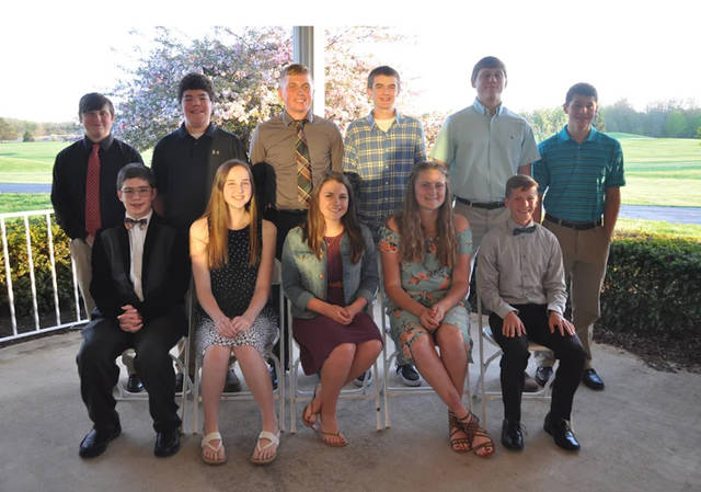 Freshman honored during Arcanum High School's Scholastic Banquet included (back row, l-r) Jonathan Riley, Isaac Smith, Cameron Burke, Nicholas Fry, Cael Gostomsky, Trevor Bailey, (front row, l-r) Karr Stump, Allie Barry, Aidan O'Brien, Trista Hollinger and Landen Kreusch.