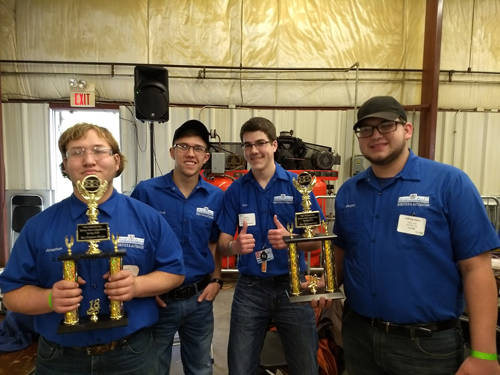The MVCTC Robotics and Automation team of Kaylee Brandt (Valley View), Caleb Bergen (Northmont), Jonathan Kitchens (West Carrollton), Alec Dickenson (Huber Heights) and Cole Good (Franklin Monroe) won Best Engineered and Best Sportsmanship with their Bot Sloth at the XtremeBots competition.