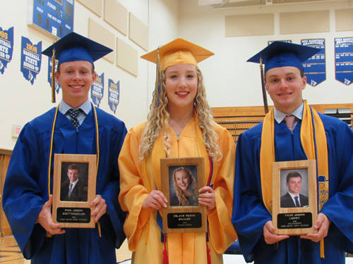 Three students were inducted into the Lehman Catholic High School Academic Hall of Fame. Pictured (l-r) are Ryan Goettemoeller, the son of Don and Bev Goettemoeller of Sidney; Valedictorian Melanie Brunner, the daughter of John and Julie Brunner of Sidney; and Salutatorian Tyler Lachey, the son of Joe and Shannon Lachey of Sidney.