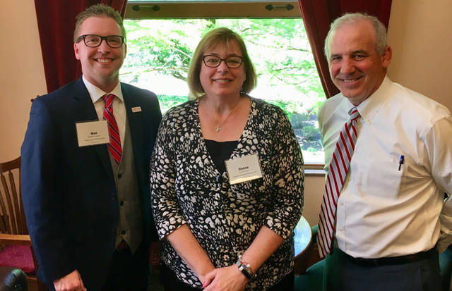 Matt Staugler of the Darke County Visitors Bureau attended the 2018 Ohio Tourism Legislative Day. Staugler (left) is pictured along with Greater Grand Lake Visitors Bureau Director Donna Grube (center) meeting with Ohio Sen. Matt Huffman.