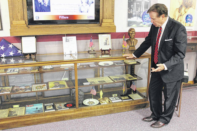 Bill White discusses his collection of memorabilia related to Sen. Robert F. Kennedy, now on display at the Garst Museum in Greenville.