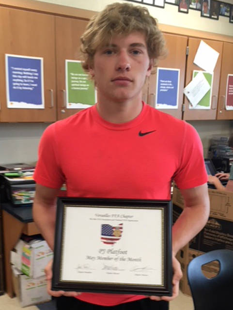 PJ Platfoot was named one of the May FFA members of the month for Versailles FFA.