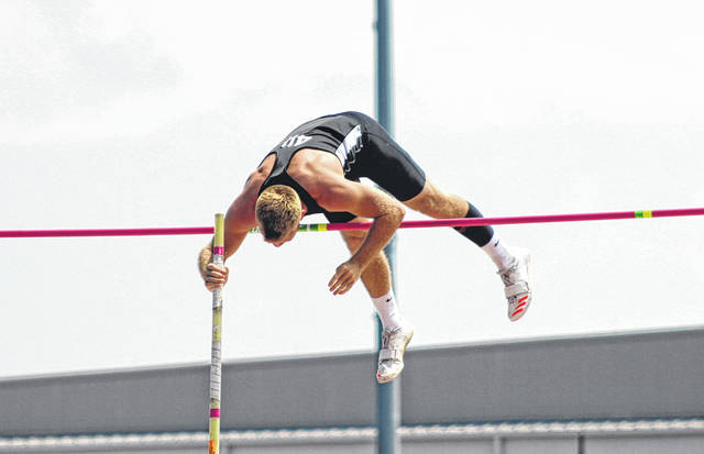 Greenville senior Ryan Trick gets over the bar during the Division I boys state pole vault finals on Saturday at Jesse Owens Memorial Stadium in Columbus. Trick finished eighth in the state.