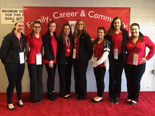 The Versailles FCCLA Chapter went to the annual FCCLA state conference in Columbus. Pictured (l-r) are Alyssa Dieringer, Allison Reed, Madelyn Vogel, Jenna Mangen, Danielle Nerderman, Skyler Clune, Savannah Toner and Morgan Barlage.