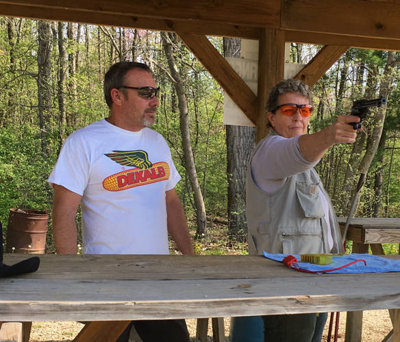 Chris Hunt and Brenda Ballengee are preparing for the upcoming Annie's Memorial, a class on shooting skills offered by the Annie Oakley Center Foundation and the Darke County Fish and Game Club.