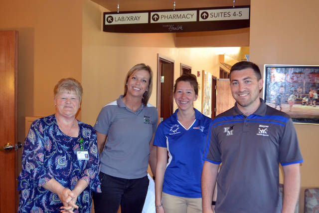 Wayne HealthCare, Family Health and Orthopedic Associates of SW Ohio collaborated to offer comprehensive sports physicals to Wayne HealthSports athletic contracted schools. Pictured (l-r) are Beverly Thornburg, Lori Oda, Chelsea Sweeney and Ethan Nealeigh. All are part of the Outpatient Rehabilitation Staff.