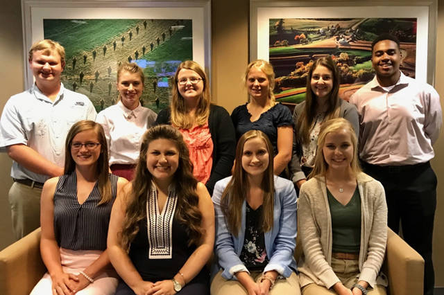 The 2018 Ag Voices of the Future class visited Washington, D.C. Pictured are (front row, l-r) Camryn Clift, Mary Kate Morgan, Sarah Lehner and Nathalie Yoder, (back row, l-r) Caleb Swears, Shelby Riggs, Abigail George, Erin Chalupa, Courtney Heiser and Cameron Walls.
