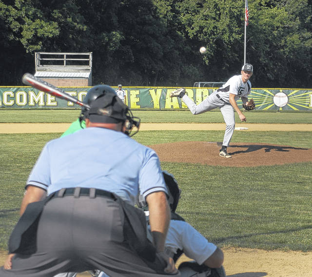 <strong>Alec Fletcher delivers a pitch to the plate during the first inning against Northmont.</strong>