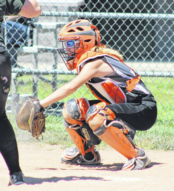 Ansonia's Aubrey Noggler behind the plate