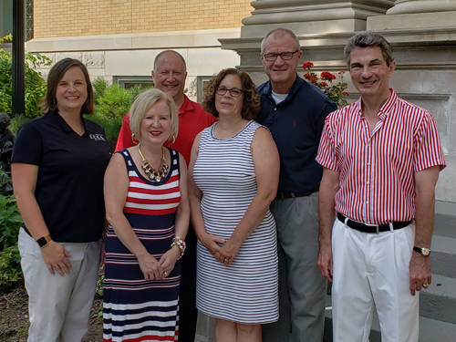 Darke County Center for the Arts recognized sponsors of the upcoming Barbecue and Blues fundraiser. Pictured are Matt and Angie Arnold, George and Becky Luce and John Vehre, director of the Greenville Public Library, with DCCA Executive Director Andrea Jordan. DCCA will host the fundraiser on the lawn of the Greenville Public Library on July 13.