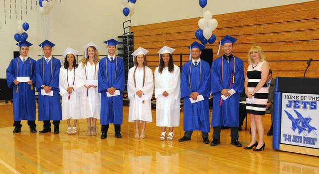 The Darke County Foundation awarded scholarships to graduates of Franklin Monroe High School Class of 2018. Pictured (l-r) are Matthew Williams, Kyle Ressler, Danielle McVey, Sierra Keller, Bryce Filbrun, Grace Fee, Nychelle Cool, Trevor Collins, Levi Altic and presenter Susan Laux, a Darke County Foundation trustee.