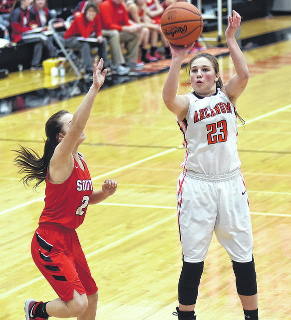 Arcanum's Gracie Garno (23), a 5-foot-6 forward who will be a junior this year, takes a shot during a game last season. She is one of the top returning players for new coach Michael Dean, who takes over a program that was 12-11 overall and finished sixth in the Cross County Conference at 8-4.